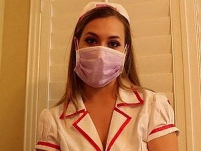 Nurse kimber lee gives unbelievable handjob in her purple lingerie and gloves   handjob  latex  lingerie  nurse