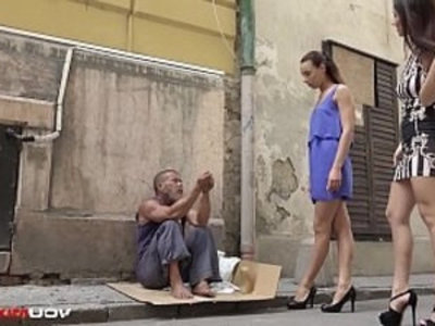 YOUMIXPORN Interactive Skinny amateur teen Cayenne and busty brunette babe Darcia Lee pick a homeless man from the streets and fuck him raw | 3some  baby  brunette  busty  cumshots  doggy  european girls  pornstars  shaved pussy  skinny