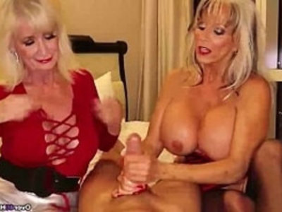 over Two grannies jerking you off | double penetration  gilf  handjob  huge cocks  jerking  mature  milf  pov