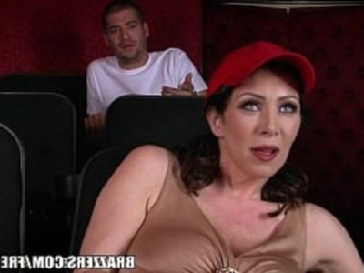 Dirty milf Rayveness masturbates in theater | big tits   cock sucking   dirty   hairy pussy   masturbation   milf   mother   public sex   son and mom
