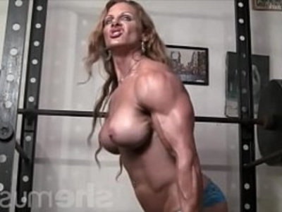 Naked Female Bodybuilder Redhead Cougar Topless in Gym | cougars   mature   milf   muscle   naked   redhead