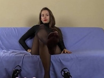 Femdom pantyhose suck her high stockings and heels and eat your own cum | cock sucking  femdom  high heels  spandex  sperm  stockings