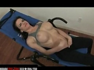 Exercising Brunette bitch Gets her Horny   big tits  bitch  boobs  brunette  clits  fingering  horny girls  masturbation  muscle  rubbing