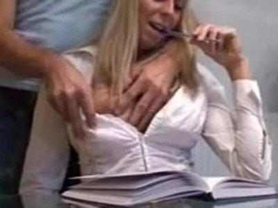 Sexy attractive blonde teacher fuckers her student on tape | blonde  college  german girls  sex tape  sexy girls  teacher