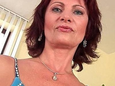 Granny Wanda with his hard nipples and hirsute pussy lips masturbates | gilf  masturbation  nipples  pussy