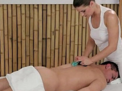 Masseuse rubs dick with amazing tits and feet on massage table | cock  dick  massage  rubbing  tits