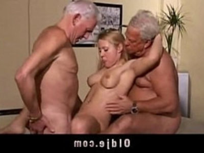 Hot old young threesome fuck | 3some  blonde  cum in mouth  cunnilingus  grandpa  group sex  old and young  old man  young