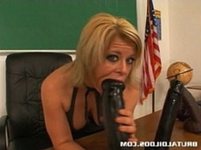 Busty teacher Kylee filling her pussy with a huge anal dildo | amateur  big tits  blonde  brutal  busty  dildo  insertion  masturbation  pussy  sex toys