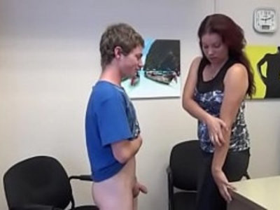 Miss Anderson Jerks Young Stud | college   handjob   jerking   mature   milf   young