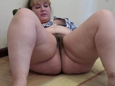 A fat girl with hairy pussy masturbates with cucumber | amateur  bbw  fat girls  fetish  girls  hairy pussy  homemade  insertion  masturbation  thick girls
