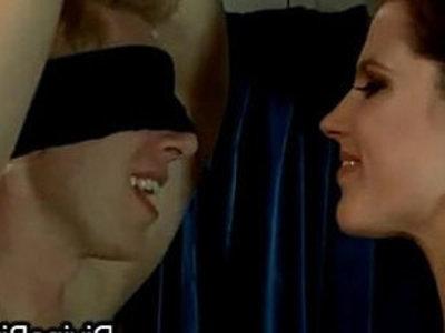 Tall brunette fucks tied guy with dildo gag on his face | bdsm  brunette  dildo  facesitting  gagging