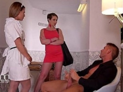 DDF Network Horny maid and wife drain a Husbands balls to Empty | 3some  cumshots  horny girls  maid  wife
