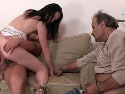 Old husband watching his wife riding | husband   old and young   riding cock   wife   young