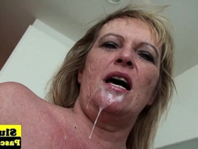 Old british escort dominated over and plowed | bbw  british girls  close up  cum in mouth  domination  escort  fingering  mature  old and young  stockings