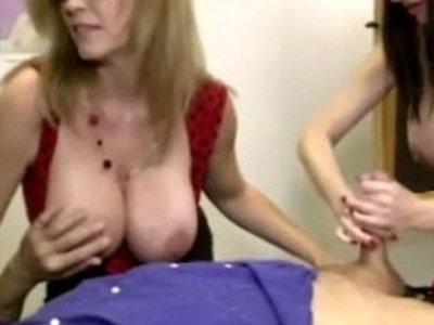 Mature handjob threeway with busty milfs   busty  girls  handjob  mature  milf  threeway