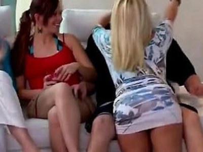 Blondie sucks off in the middle of a swingers party   blonde  cock sucking  party  swingers